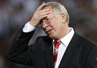 Alex Ferguson durane un partido del United