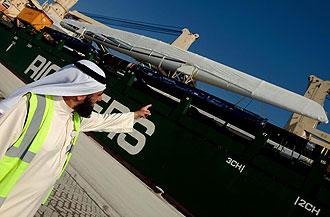 El Alinghi llegando a Emiratos Árabes Unidos