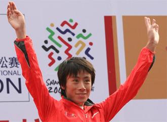 Xue Bai festeja su triunfo