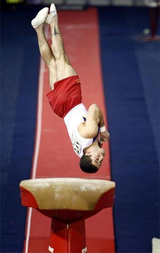 Isaac Botella durante la final de salto de los Mundiales de Londres.