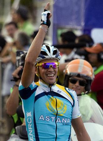 Alberto Contador celebra una victoria.