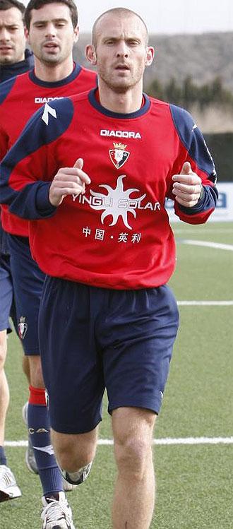Delporte, en un entrenamiento de Osasuna