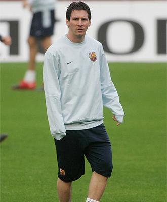 Leo Messi durante el entrenamiento previo al choque con el Rub�n Kaz�n