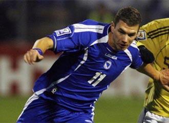 Edin Dzeko, durante el partido que enfrent� a Bosnia con la selecci�n espa�ola