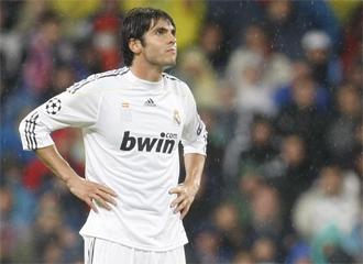 Kaká, con cara de circunstancias tras un gol del Milan