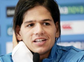 Zé Castro, en rueda de prensa con el Deportivo.