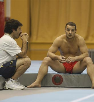 Alfredo Hueto y Gervasio Deferr durante un entrenamiento