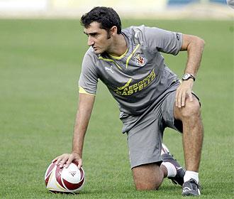 Valverde, en un entrenamiento del Villarreal.
