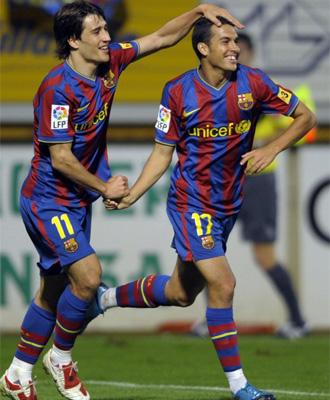 Pedro celebra su gol ante la Cultural Leonesa en Copa del Rey