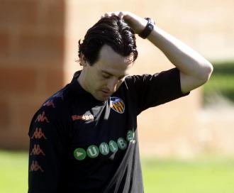 El técnico unay Emery, en un entrenamiento.