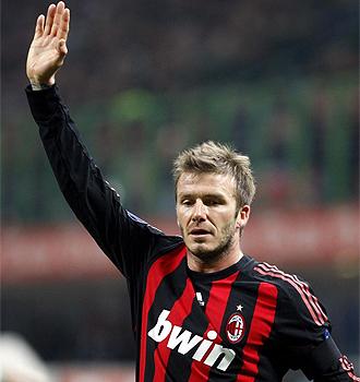 Beckham, en un partido de la pasada temporada con el Milan