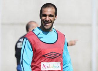 Gámez, durante un entrenamiento con el Málaga