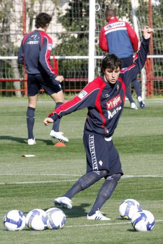 Michel, en un entrenamiento con el Sporting.