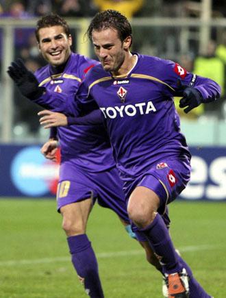 Gilardino celebra el último tanto de la Fiorentina.