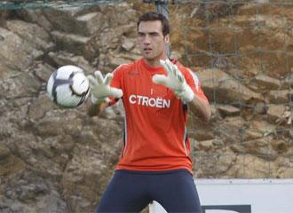 Falc�n, durante un entrenamiento con el Celta de Vigo
