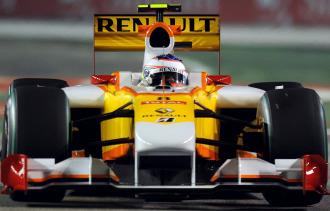 Grosjean, a los mandos de un monoplaza de Renault.