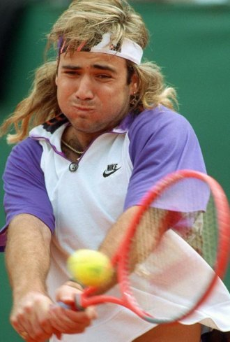Andre Agassi durante un partido en 1991.