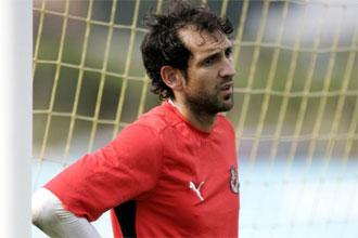 Diego López, en un entrenamiento del Villarreal