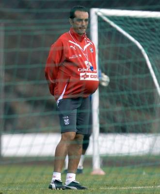 Oltra, en un entrenamiento del Tenerife.