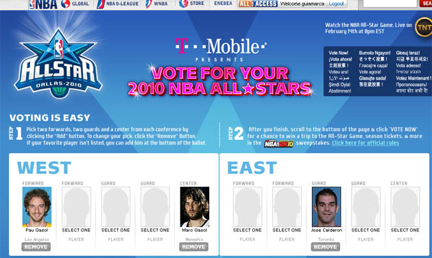 El panel de jugadores seleccionables para el All-Star, con los españoles marcados.