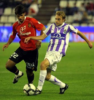 Font y Bruno China, durante el partido de ida en el Nuevo Zorrilla.