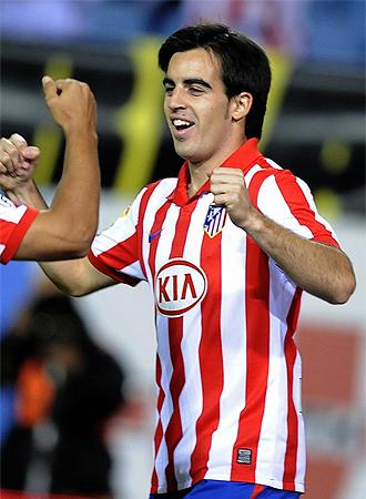 Jurado celebra un gol con el Atlético