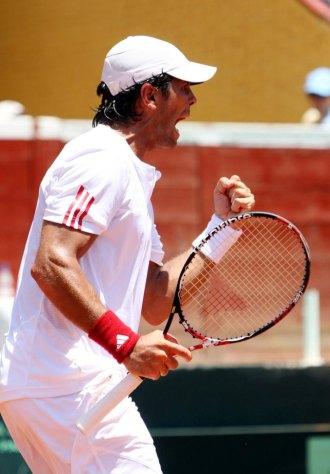 Fernando Verdasco celebra un punto durante un partido de Copa Davis.