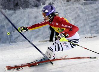 Maria Riesch, durante el slalom de Levi.