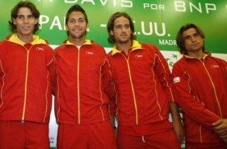 Rafa Nadal, Fernando Verdasco, Feliciano L�pez y Davud Ferrer, en una convocatoria de Copa Davis.