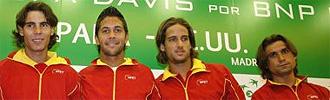 Rafa Nadal, Fernando Verdasco, Feliciano López y Davud Ferrer, en una convocatoria de Copa Davis.