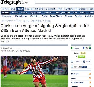 Informaci�n de Ag�ero en el Daily Telegraph