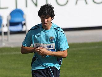 Luque durante el entrenamiento del Málaga.