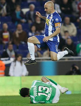 De la Peña, durante un partido con el Espanyol