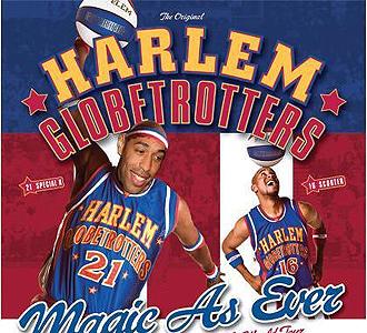 Henry, en un fotomontaje de los Harlem Globetrotters.