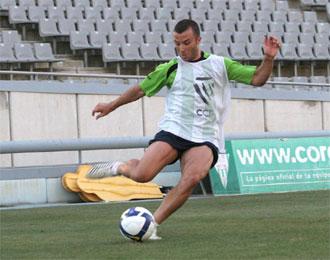 Pepe D�az, durante un entrenamiento.
