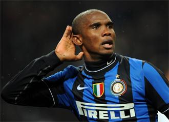 Etoo celebra un tanto con el Inter de Milán. El camerunés será uno de los focos de atención del choque.