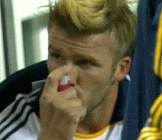 Imagen de la ESPN con David Beckham usando inhalador