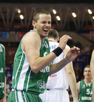 Nachbar, con la selección eslovena en el Eurobasket.