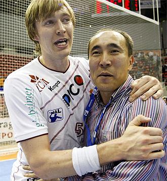 Kallman celebra con Dujshebaev un título del Ciudad Real