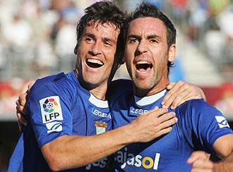 Bermejo y Abel celebrando un gol del Xerez