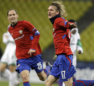 Krasic celebra un gol.