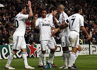 El Madrid celebra un gol