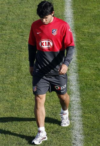 Agüero, al término de un entrenamiento con el Atlético de Madrid.
