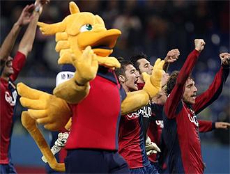 Los jugadores del Genoa celebran la victoria