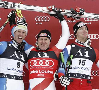 Los tres miembros del podio en Lake Louise