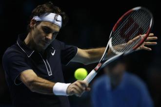 Roger Federer durante un partido en la Copa Masters de Londres.