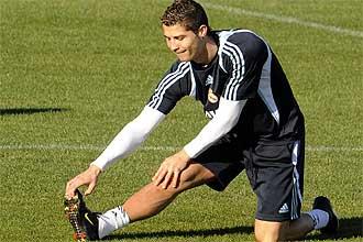 Cristiano Ronaldo, durante una sesión preparatoria del Real Madrid