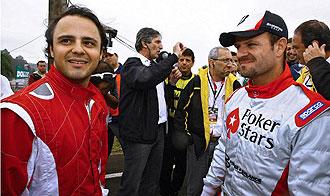 Felipe Massa y Rubens Barrichello charlando tras la carrera