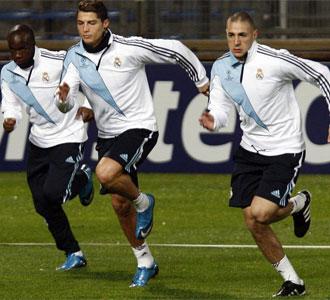 Lass, Cristiano y Benzema se entrenan en el Velodrome.
