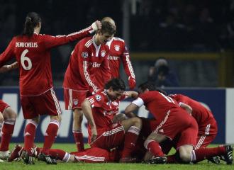 El Bayern celebra un gol ante la Juve